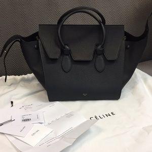 Celine Mini Tie Bag in Black Pebbled Leather